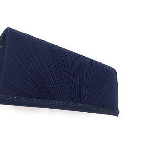 Principale Blu pochette O6 Tracollina raso applicazioni Removibile tessuto Argento Milano Strass Con 6rrHnU8W