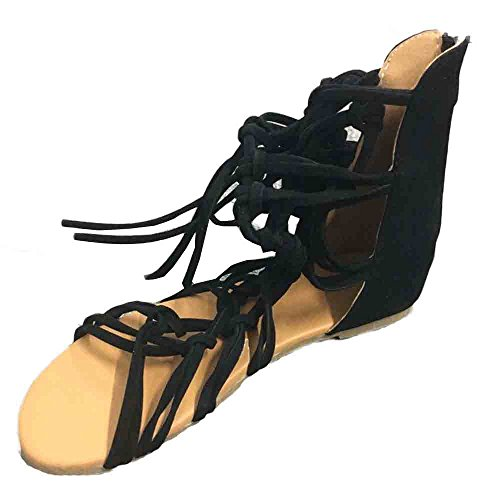 Sunyastor Women Bohemian Summer Casual Shoes High Boots Sandals Suede Knotted Peep Toe Lace Up Wrap Gladiator Flat Sandal Black
