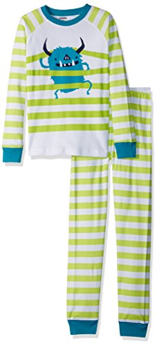 Gymboree Little Boys' 2-Piece Tight Fit Long Sleeve Pajama Set, Monster Stripe, 8