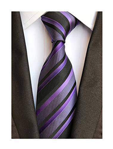Secdtie Men's Classic Stripe Jacquard Woven Silk Tie Formal Party Suit Necktie (One Size, Black purple)
