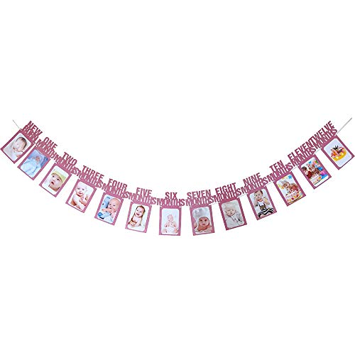 (JUYUE Monthly Baby Photo Banner Glitter for Newborn to 12 Months,Great for 1 Year Old Celebration, Monthly Milestone Photograph Bunting Garland, Pink)