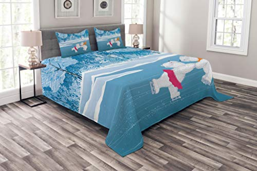 Lunarable Cartoon Coverlet Set Queen Size, Little Polar Bears Skating on Frozen Lake Love Partners Artistic Christmas Theme, Decorative Quilted 3 Piece Bedspread Set with 2 Pillow Shams, Blue White -