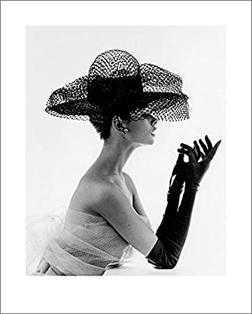John french madame paulette in a netted hat 1963 decorative fashion model photography poster print