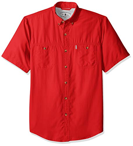 G.H. Bass & Co. Men's Explorer Short Sleeve Fishing Shirt Solid Button Pocket, Mars red, Large