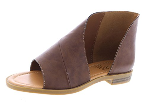 385 FIFTH Women's Faux Leather Half d'Orsay Open Toe Asymmetrical Wrap Flat Sandal Brown 10 US