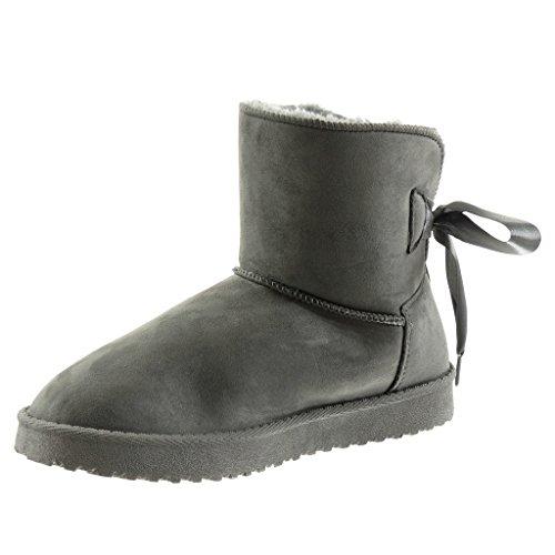 CM femme Bottine plat neige satin Angkorly bottes Int 2 Lacet Chaussure Talon de ruban 5 Mode E6PCxAwq