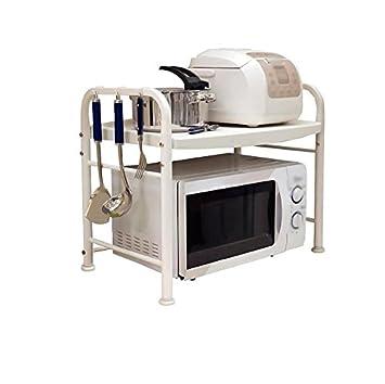 Estantes de horno de microondas para cocinas blancas de 2 niveles con 8 ganchos Pies ajustables