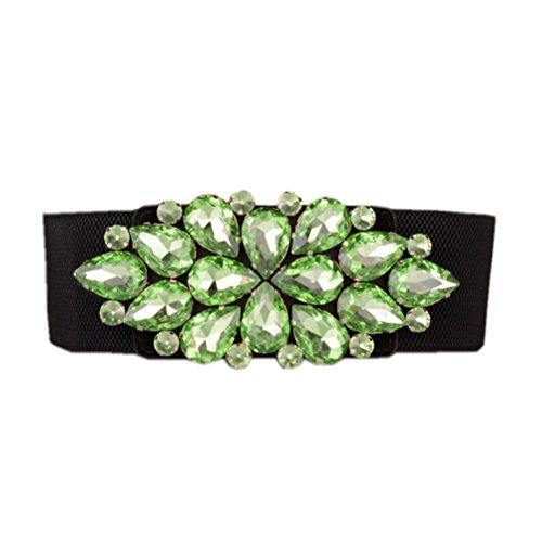 Dorchid Women Rhinestone Belt Crystal Elastic Waist Floral Cummerbund for Dress Green S ()