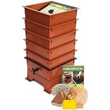 Nature's Footprint Worm Factory DS5TT 5-Tray Worm Composter, Terra Cotta