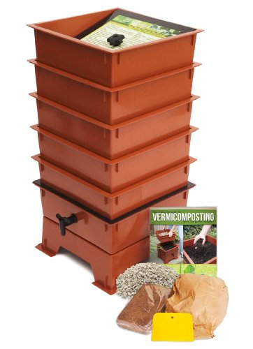 Worm Factory DS5TT 5-Tray Worm Composter, Terra - Worm Design Terra Cotta