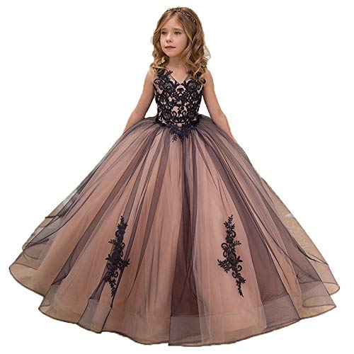 Flower Girls Princess V Neck Sleeveless Pageant Dresses Kids Puffy Tulle Prom Ball Wedding Party Gowns -