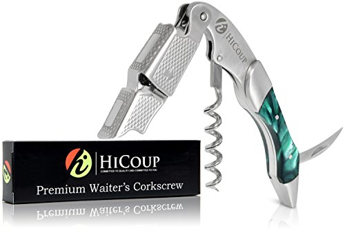 Waiters Corkscrew by HiCoup - Professional Stainless Steel with Jade Resin Inlay All-in-one Corkscrew, Bottle Opener and Foil Cutter, The Favoured Wine Opener of Sommeliers, Waiters and Bartenders ()