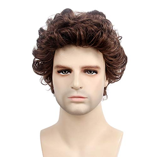 JJNGJ Brown Short Curly Hair Wigs for Men- Natural Looking Small Curly Wigs,Looking as Real Human Wigs Male 12 Inch]()
