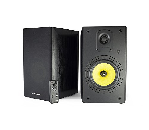 Thonet and Vander Kugel 2.0 700 Watts Wood Bookshelf Speakers with Bluetooth Compatibility Plus Wireless Remote Control, 9.4 x 8.7 x 14