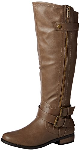 Rampage Women's Hansel Zipper and Buckle Knee-High Riding Boot,Taupe,11 B(M) US Wide Calf