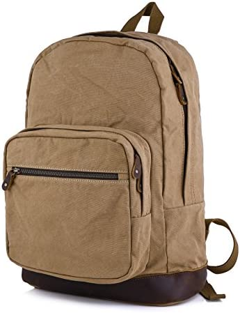 Gootium Canvas Backpack with Leather Trim, Unisex College Rucksack, Coffee
