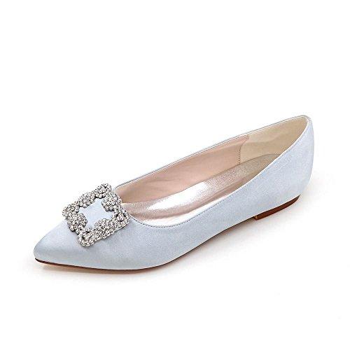 Chaussures Banquet Femmes Satin Mariage Bleu Chaussures Duoai Soie Tempérament 38 Télévision Chaussures Femmes Pleine de Partie Couleur TT6nv14