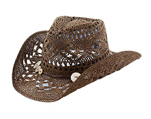 Vamuss Western Beach Toyo Straw Cowgirl Hat with Shell Butto
