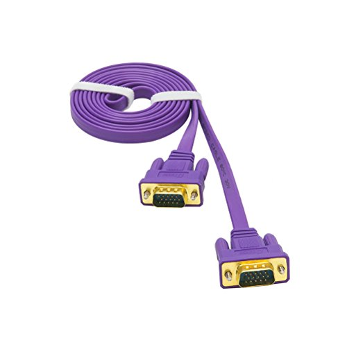 Display Extender 15 Pin (DTECH Ultra Slim Flat VGA to VGA Cable 6 Feet in Purple 1.8m)