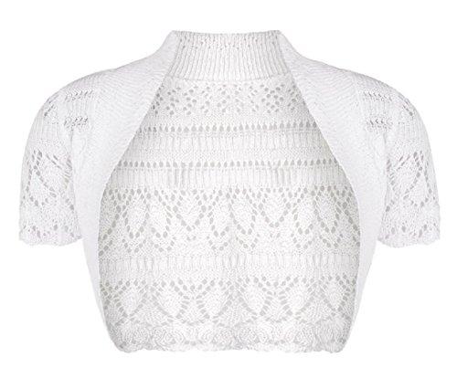 Momo&Ayat Fashions Girls Kids Crochet Short Sleeve Knitted Bolero Shrug Age 2-14 Years (Age 3-4 Years, White)