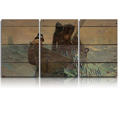 JEANCZ Canvas Wall Art for Home Decor Winslow Homer - The Herring Net Modern Decoration Print on Canvas Ready to Hang 12x16Inch 3pcs/Set
