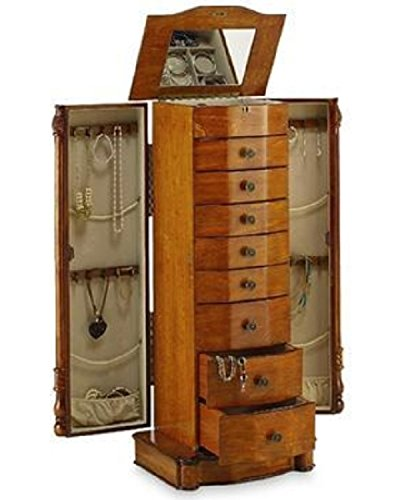 Large Floor Standing 8 Drawer Wooden Jewelry Armoire with Mirror & Lock