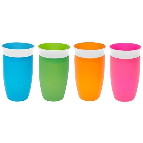 Munchkin Miracle 360 Sippy Cup, Green/Blue, 10 Ounce, 2 Count & Munchkin Miracle 360 Sippy Cup, Pink/Orange, 10 Ounce, 2 Count