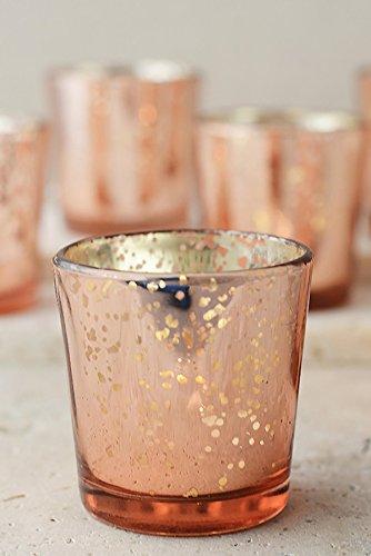 Dexon Power 12 Rose Gold Mercury Glass Candle Holders