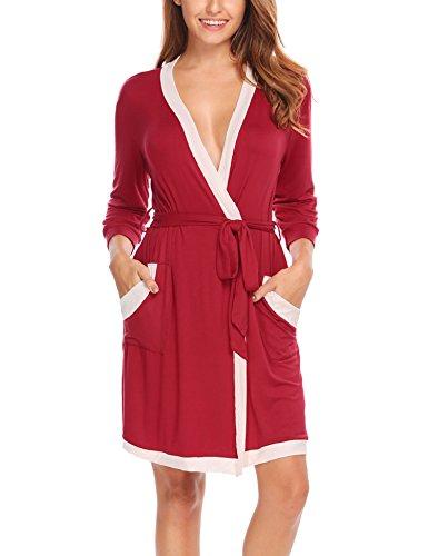 Hotouch Women's Cotton Kimono Robe, Solid Color, Short Dark Red S