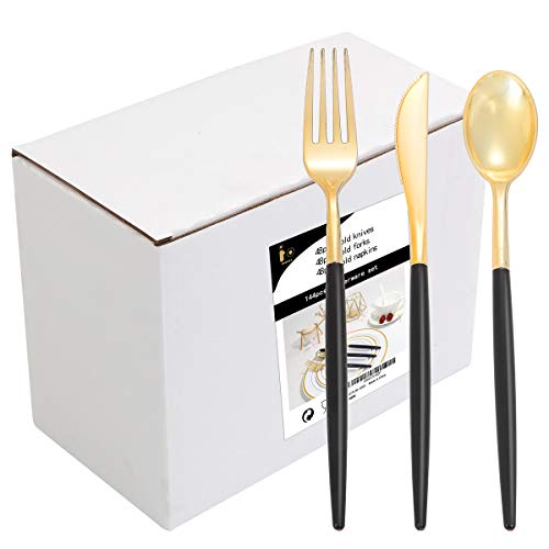 144 PCS Gold Plastic Silverware, Disposable Flatware with Black Handle, Gold Plastic Cutlery Includes: 48 Forks, 48 Knives and 48 Spoons