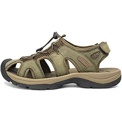 Giboie Men's Casual Summer Leather Hiking Beach Sandals
