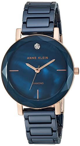 Anne Klein Women's AK/3364NVRG Diamond-Accented Rose Gold-Tone and Navy Blue Ceramic Bracelet ()