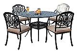 GrandPatioFurniture.com CBM Patio Elisabeth Collection Cast Aluminum 5 Piece Rosedown Dining Set with 4 Arm Chairs SH256-4A CBM1290