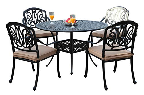 - GrandPatioFurniture.com CBM Patio Elisabeth Collection Cast Aluminum 5 Piece Rosedown Dining Set with 4 Arm Chairs SH256-4A CBM1290