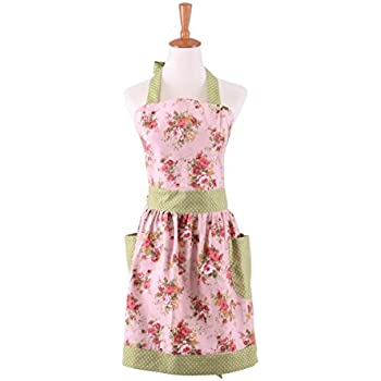 G2Plus Cotton Canvas Pink Floral Gardening Apron For Women Cooking Baking  Apron With Pockets Great Gift