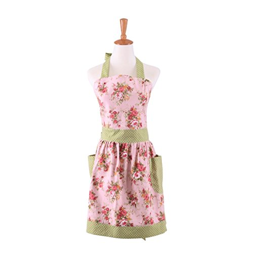 FirstKitchen Cotton Canvas Pink Floral Gardening Apron for Women Cooking Baking Apron with Pockets Great Gift for Wife Daughters Ladies(Adult Women)