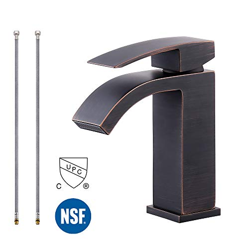 KES NSF Bathroom Waterfall Faucet Single Handle One Hole Lavatory Basin Vanity Sink Lead Free Brass cUPC Faucet Oil Rubbed Bronze, L3109ALF-ORB ()
