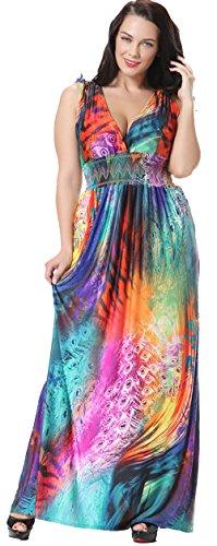Jusfitsu Women's V-neck Floral Printed Beach Boho Maxi Dress Plus Size Colorful 3XL