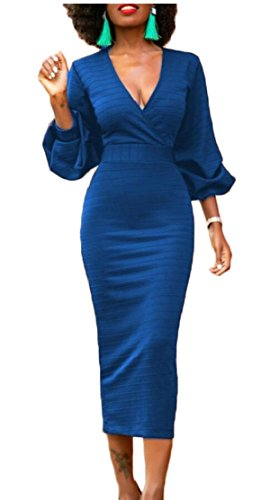 Ainr Womens Robes Midi Sexy V-cou Robes Moulantes Crayon À Manches Longues Bleu
