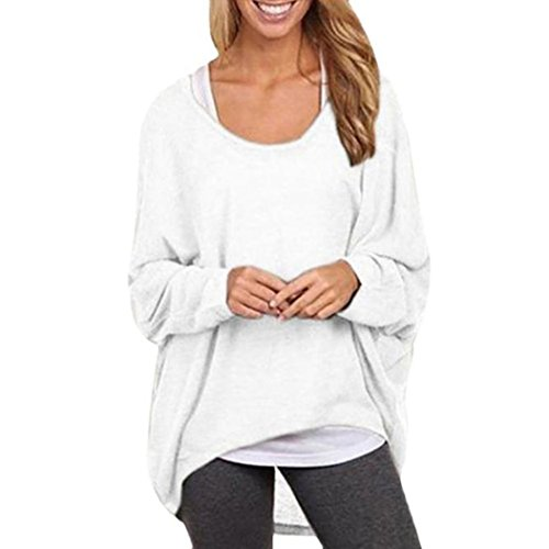 Todaies Women's Sexy Long Batwing Sleeve Loose Pullover Casual Top Blouse T-Shirt (L, White) (Camisole Pullover Top)