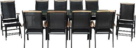 IB-Style DIPLOMAT XXL - Juego de muebles de exterior (13 piezas, incluye reposapiés, mesa extensible 135-270 cm), color negro y madera de teca