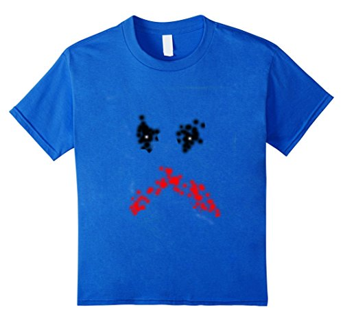Kids Scary Painted Halloween Face T-Shirt 10 Royal (Scary Halloween Face Paints For Kids)