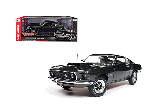 New DIECAST Toys CAR AUTO WORLD 1:18 American Muscle - Muscle Cars & Corvette Nationals - 1969 Ford Mustang BOSS 429 with Separate Spoiler (Green) AMM1152