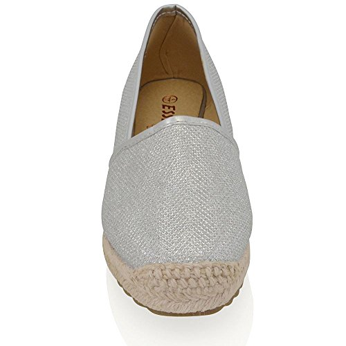 ESSEX GLAM New Womens Flat Espadrilles Pumps Ladies Holiday Casual Comfort Shoes Size Silver Glitter wWDNOLXhil