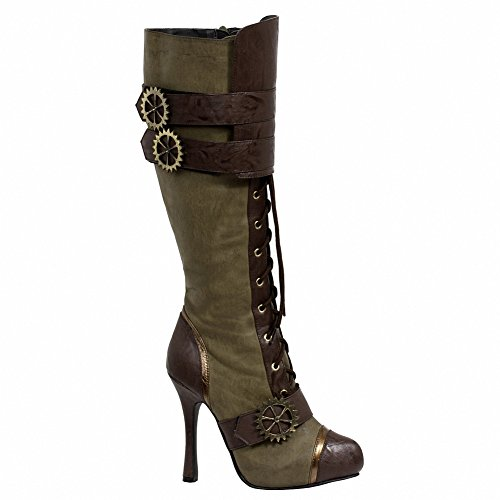Ellie Chaussures Femme 420 Quinley 4 Genou Haute Steampunk Botte Avec Lacets Vert