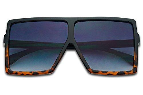 Big XL Large Oversized Super Flat Top Square Two Tone Color Fashion Sunglasses (Black Tortoise/Black Gradient, 65) (Top Mens Sunglasses)