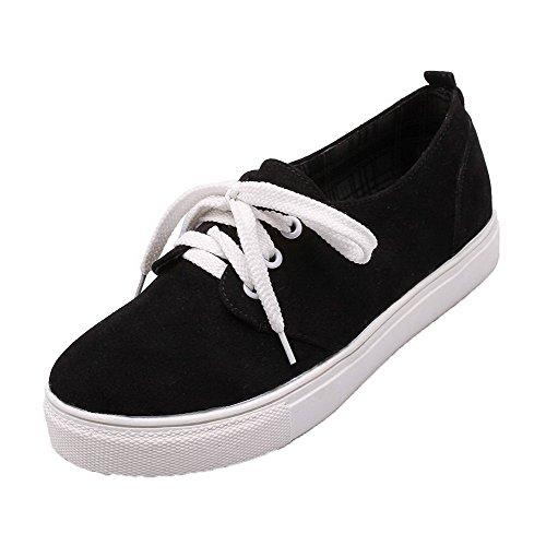 AmoonyFashion Womens Lace-Up Low-Heels PU Solid Pumps-Shoes Black GjJ3JG