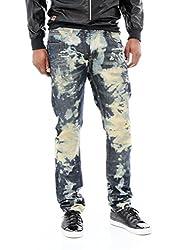 Copper Rivet Men's Tinted Acid Washed Skinny Denim Jeans-Khaki T.Blue-29/30