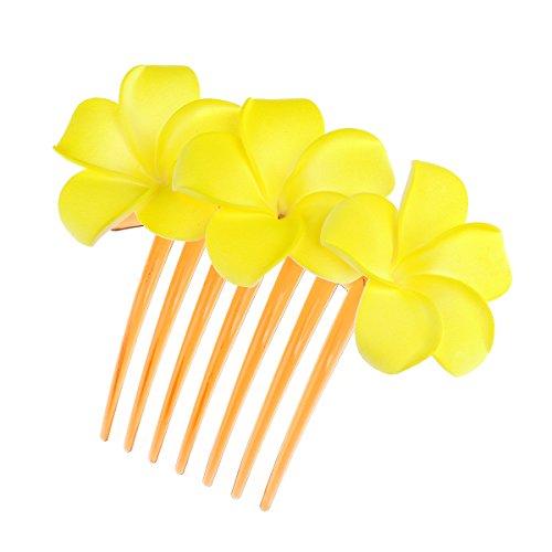 (DreamLily Hawaiian Plumeria Flower Foam Comb Beach Wedding Flower Headpiece JZ09 (Yellow))