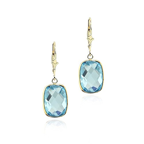 14K Yellow Gold Handmade Gemstone Earrings With Dangling Cushion Shape Blue Topaz Cushion Cut Gemstone Leverback Earrings